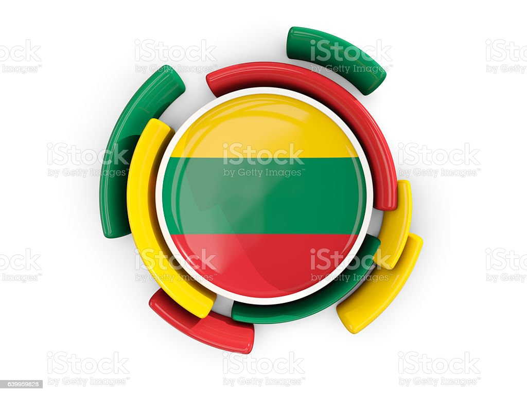 Round flag of lithuania with color pattern stock photo