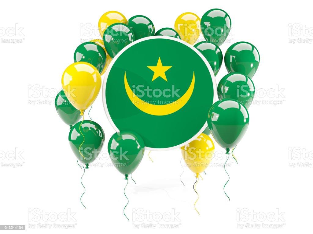 Round flag of mauritania with balloons stock photo