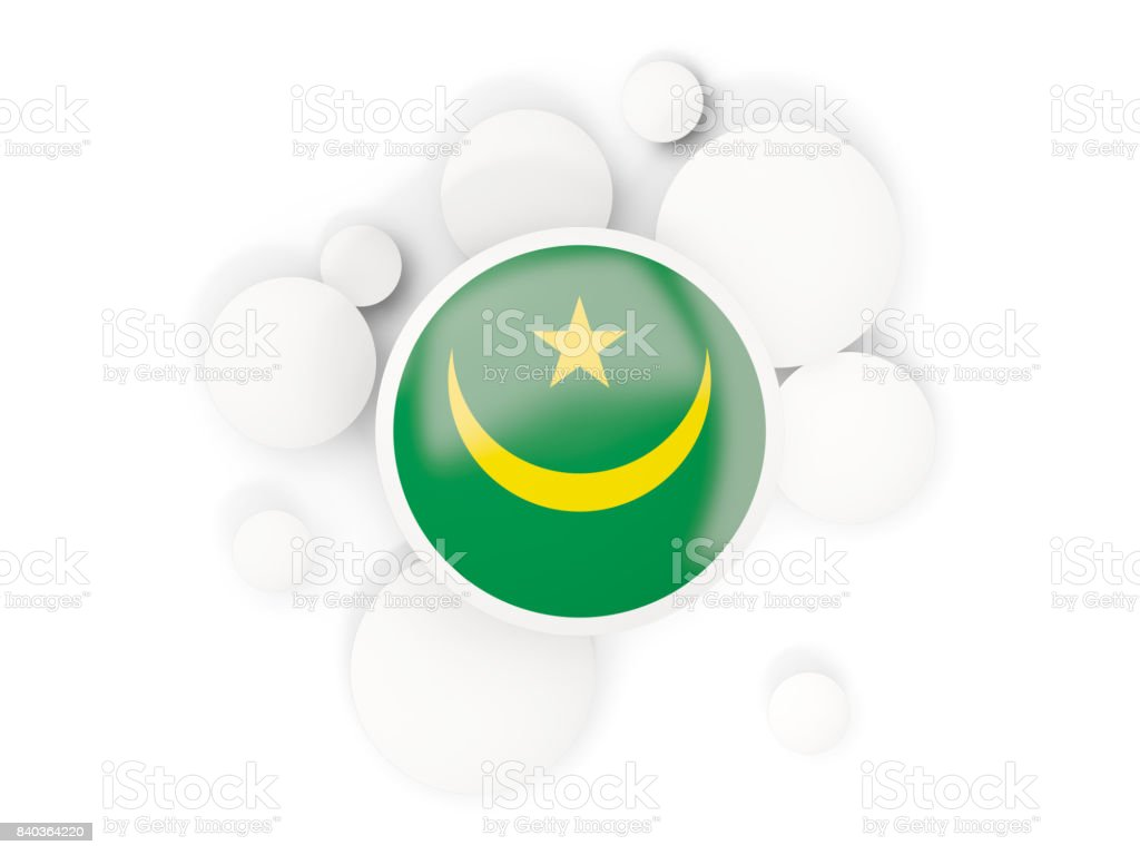 Round flag of mauritania with circles pattern stock photo
