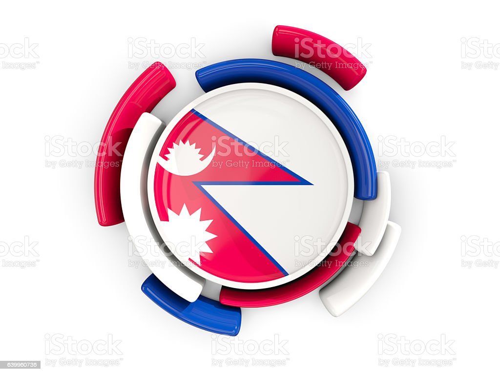 Round flag of nepal with color pattern stock photo