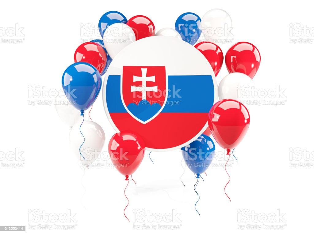 Round flag of slovakia with balloons stock photo