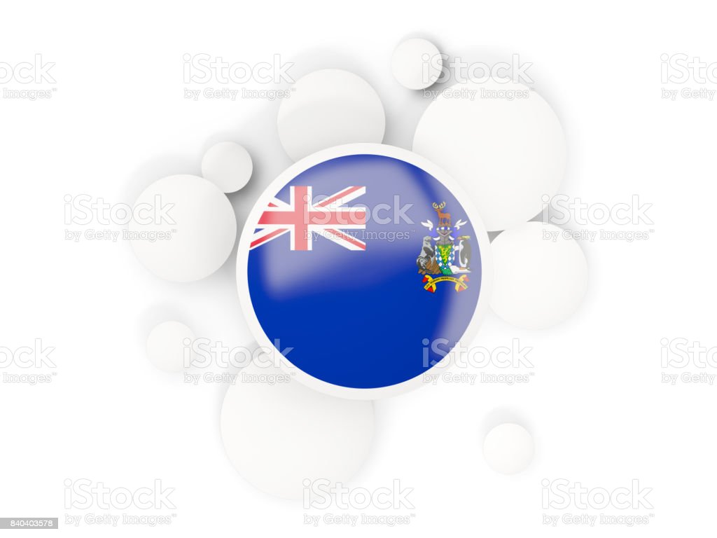 Round flag of south georgia and the south sandwich islands with circles pattern stock photo
