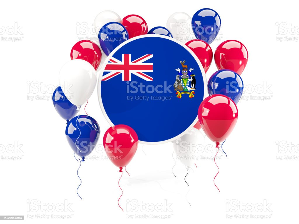 Round flag of south sandwich islands with balloons stock photo