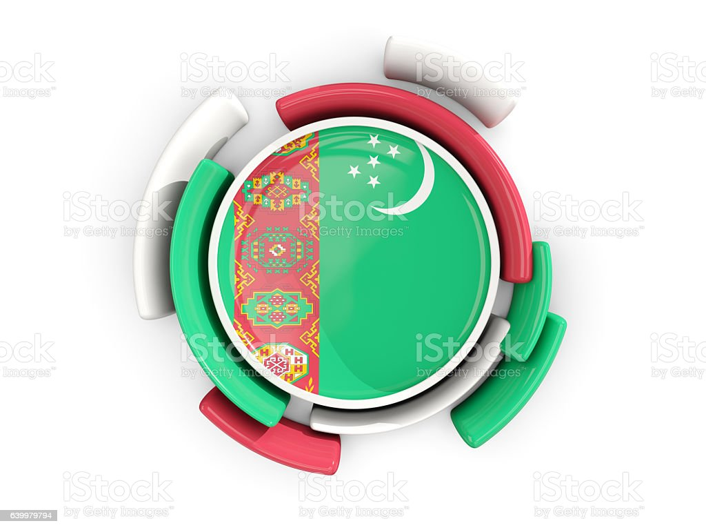 Round flag of turkmenistan with color pattern stock photo