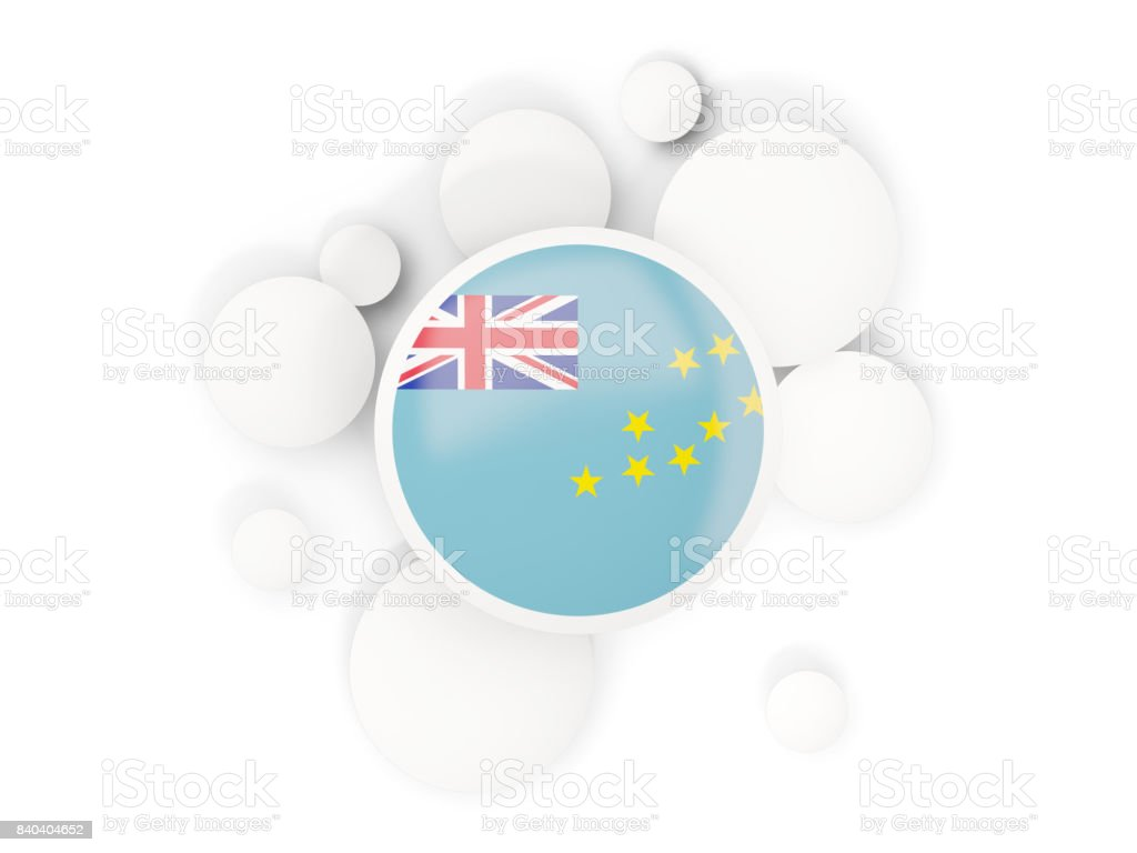 Round flag of tuvalu with circles pattern stock photo