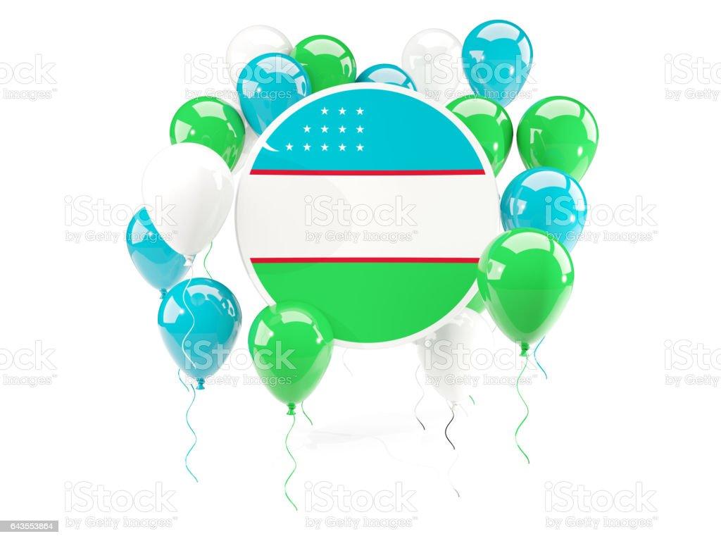 Round flag of uzbekistan with balloons stock photo