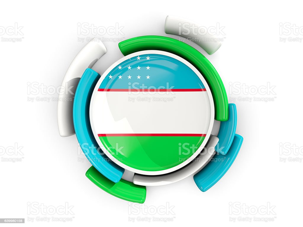 Round flag of uzbekistan with color pattern stock photo