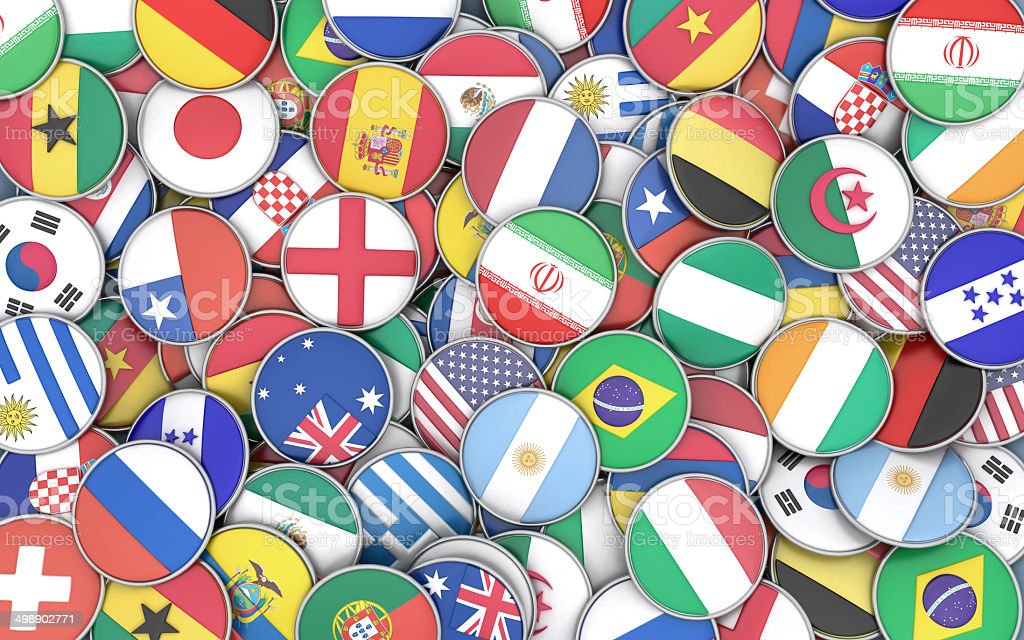 Round flags background stock photo