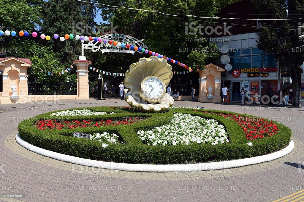 Round flower bed stock photo