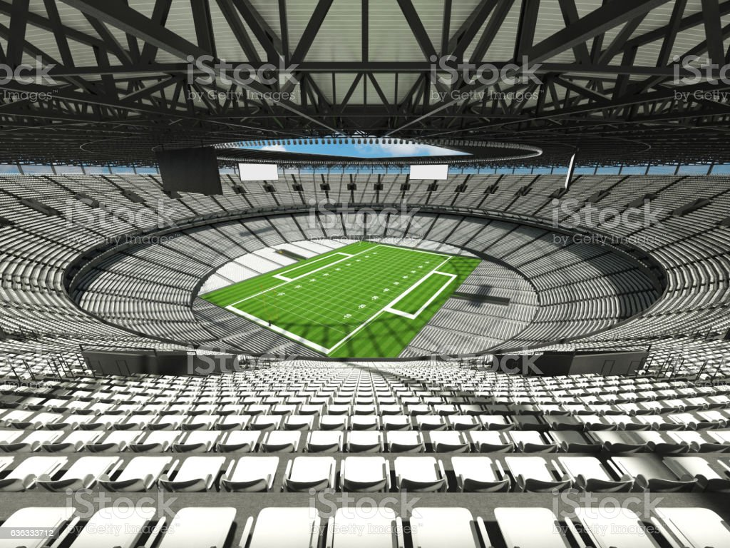 3D render of a round football stadium with white seats for hundred...