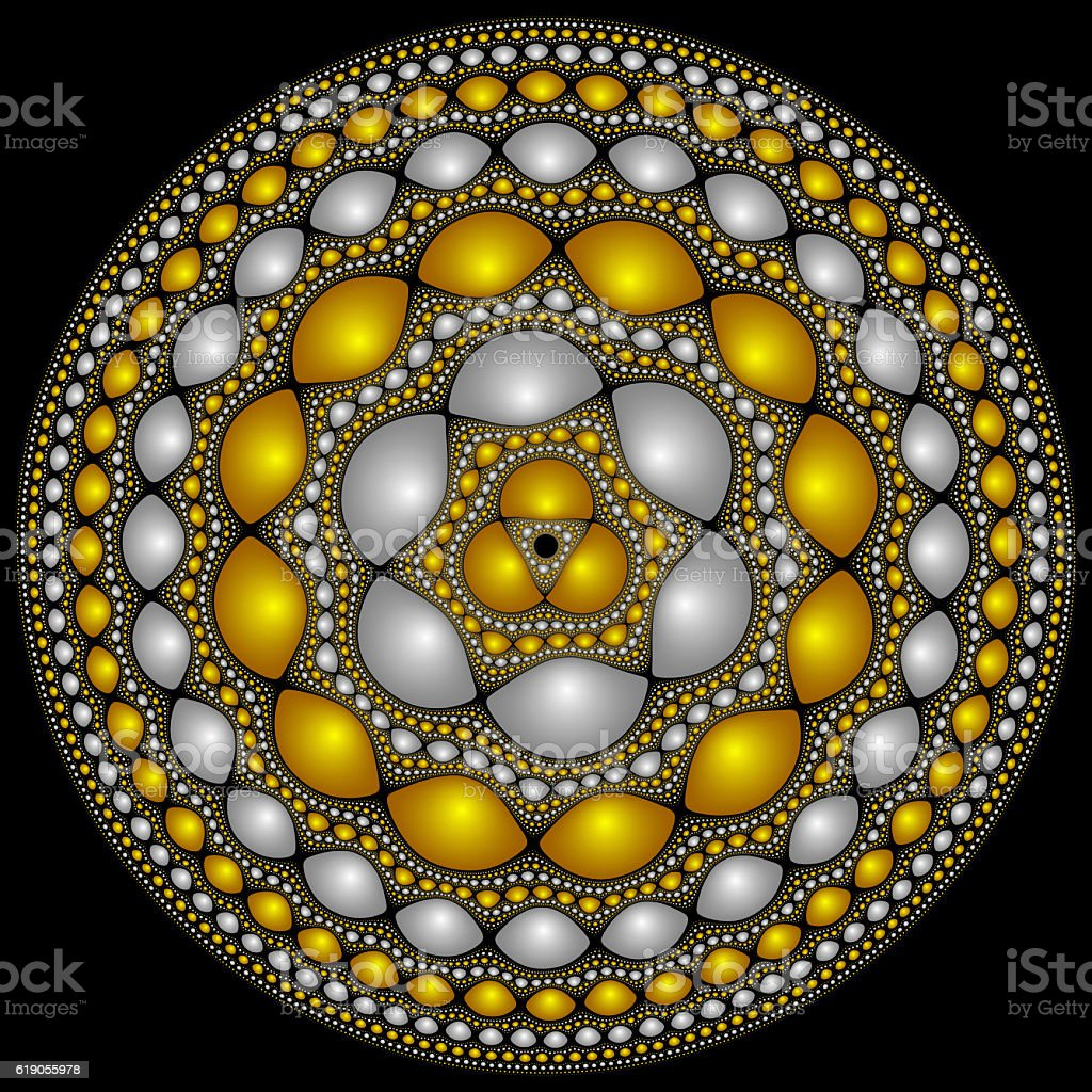 Round fractasl design suitable for fantasy medieval shield stock photo