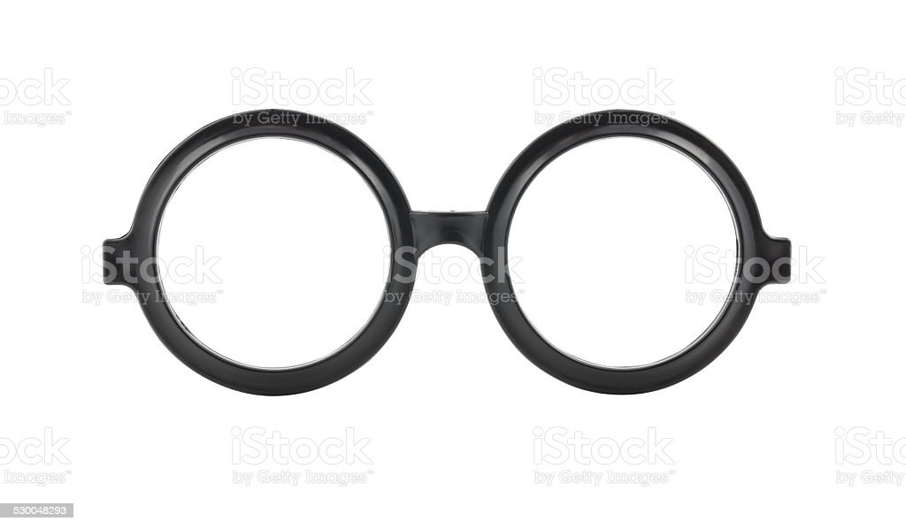 Round frame glasses isolated on white background stock photo