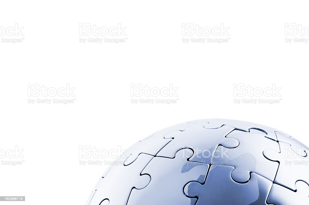 Round globe jigsaw puzzle on white background royalty-free stock photo