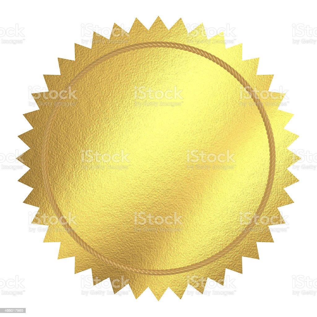 Round gold seal with pointed edges stock photo