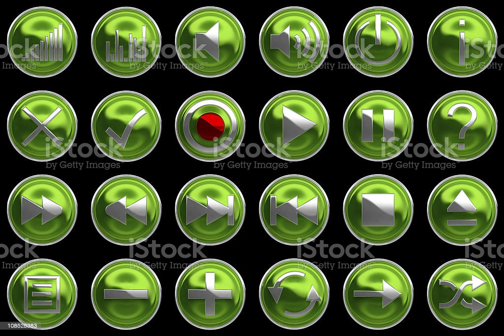 Round green Control panel icons or buttons stock photo