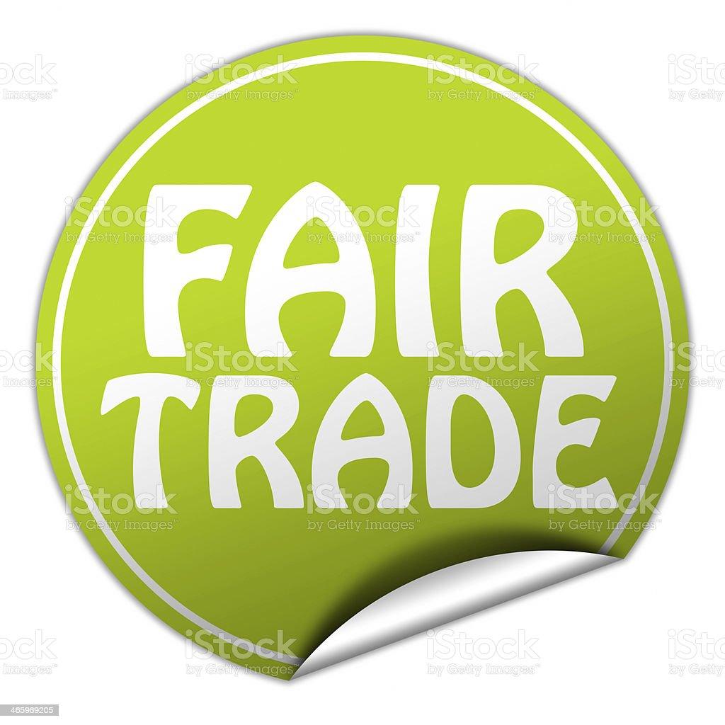 FAIR TRADE round green sticker on white background stock photo