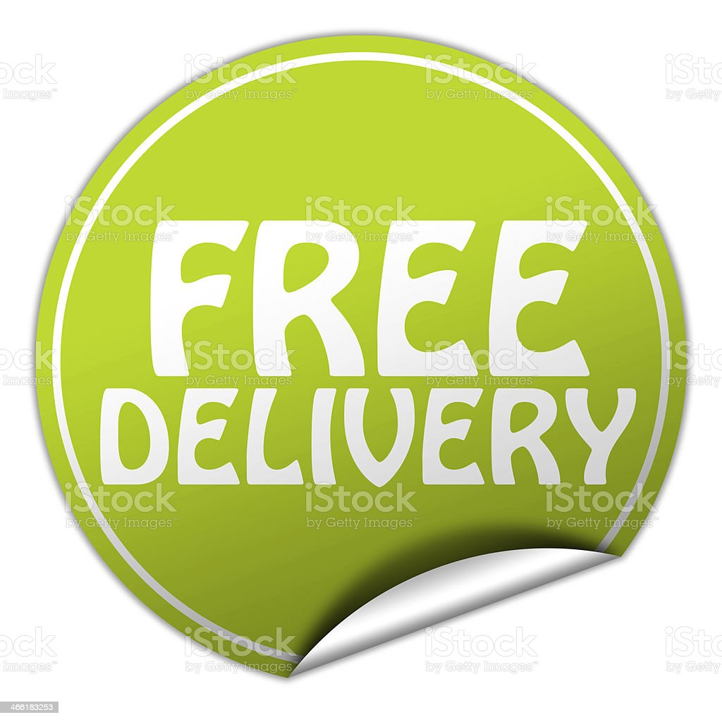 FREE DELIVERY round green sticker on white background stock photo