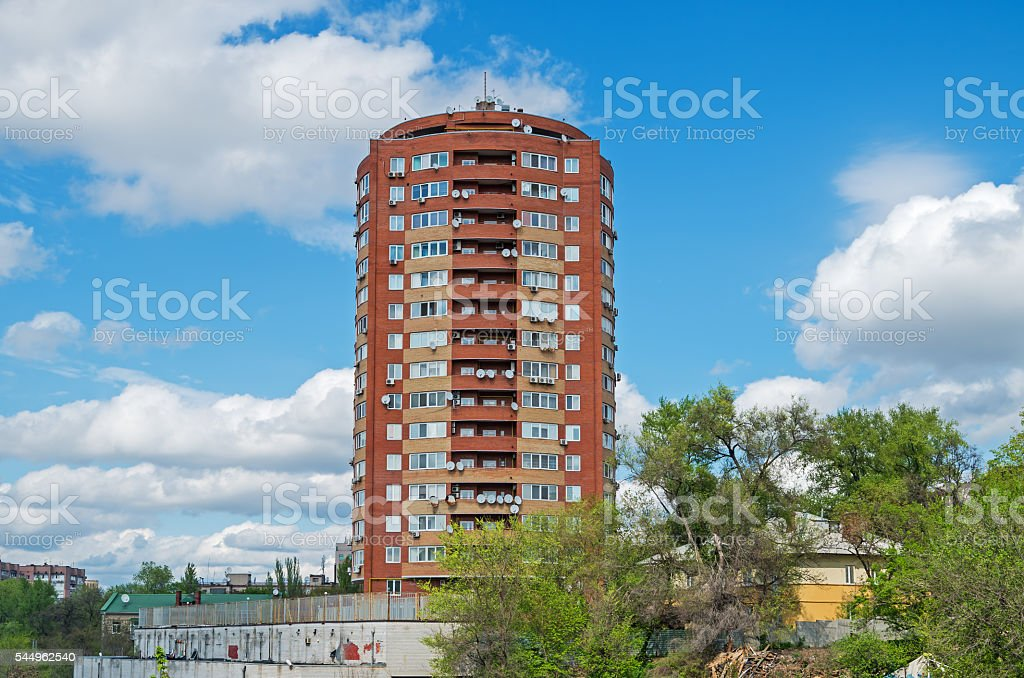 Round high-rise building stock photo