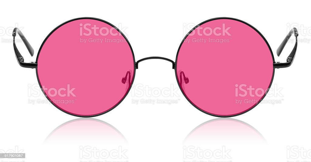 Round hippy glasses with pink lens stock photo