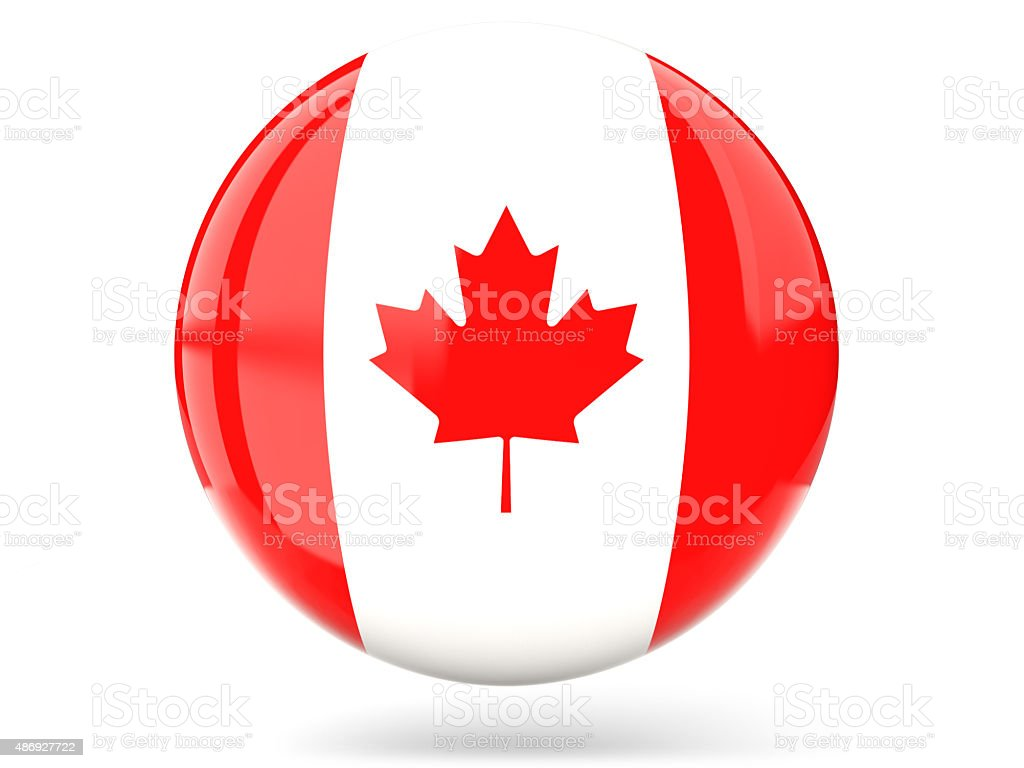 Round icon with flag of canada stock photo
