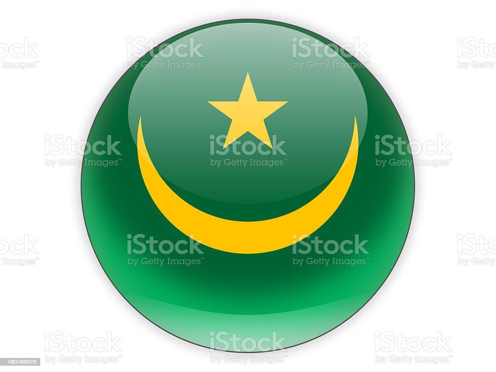 Round icon with flag of mauritania stock photo
