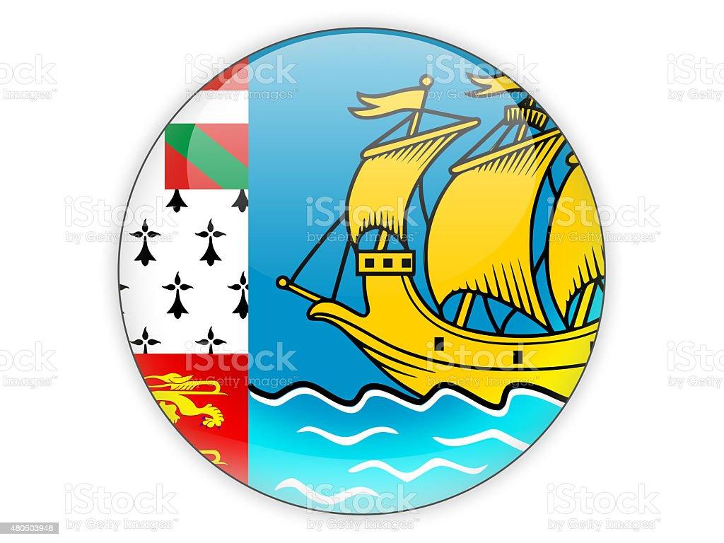 Round icon with flag of saint pierre and miquelon stock photo
