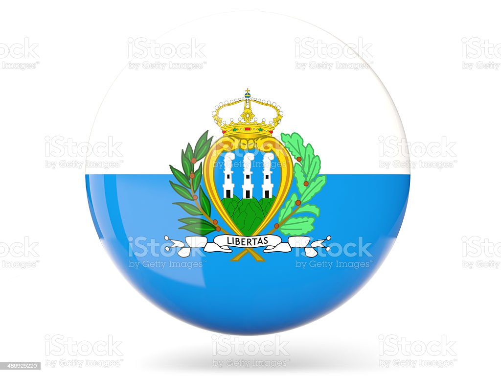 Round icon with flag of san marino stock photo