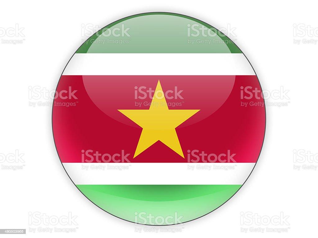 Round icon with flag of suriname stock photo