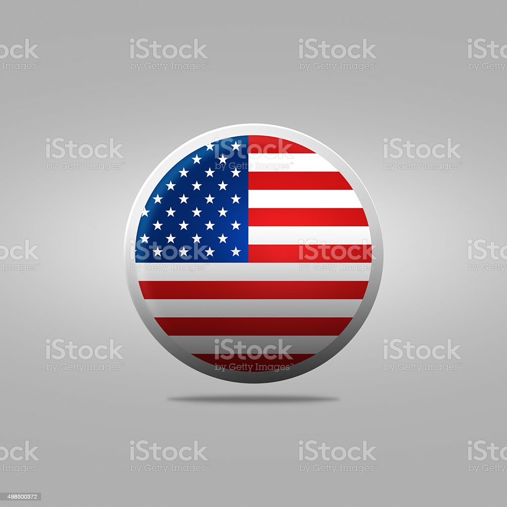 Round icon with the of a flag USA stock photo
