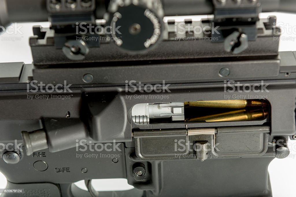 round in chamber jammed stock photo