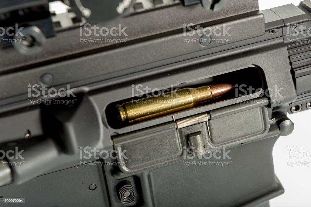 Round in chamber of gun stock photo