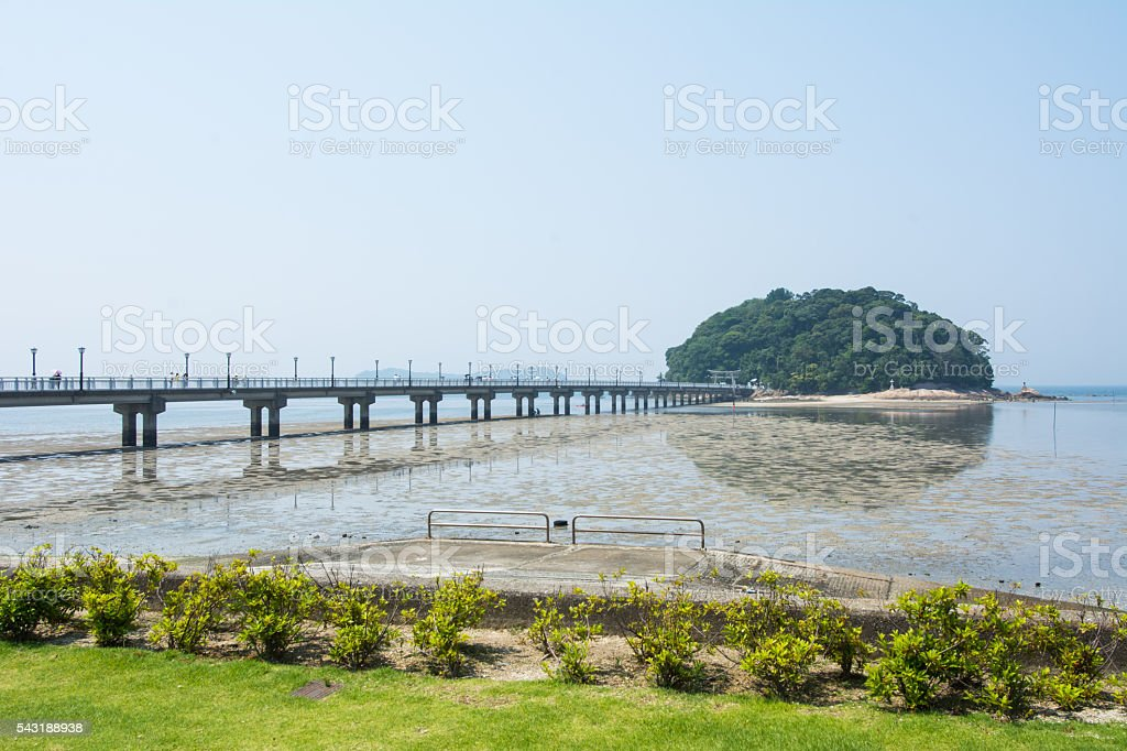 Round Island and Bridge stock photo