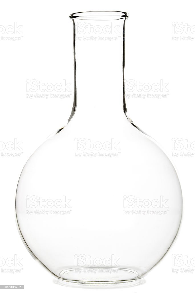 Round laboratory glass flask stock photo