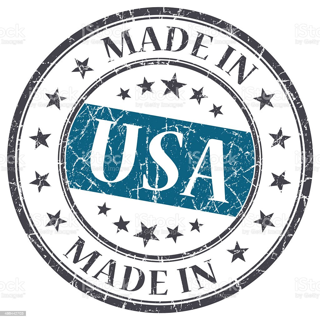 Round made in USA stamp on white background royalty-free stock photo
