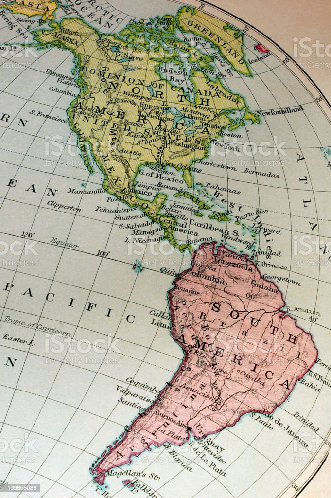 Round map of the American continent stock photo