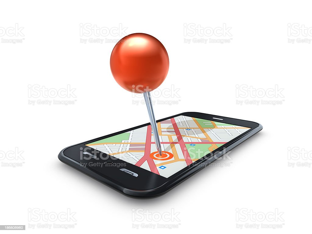 O mapa Pin em Mobile celular foto royalty-free