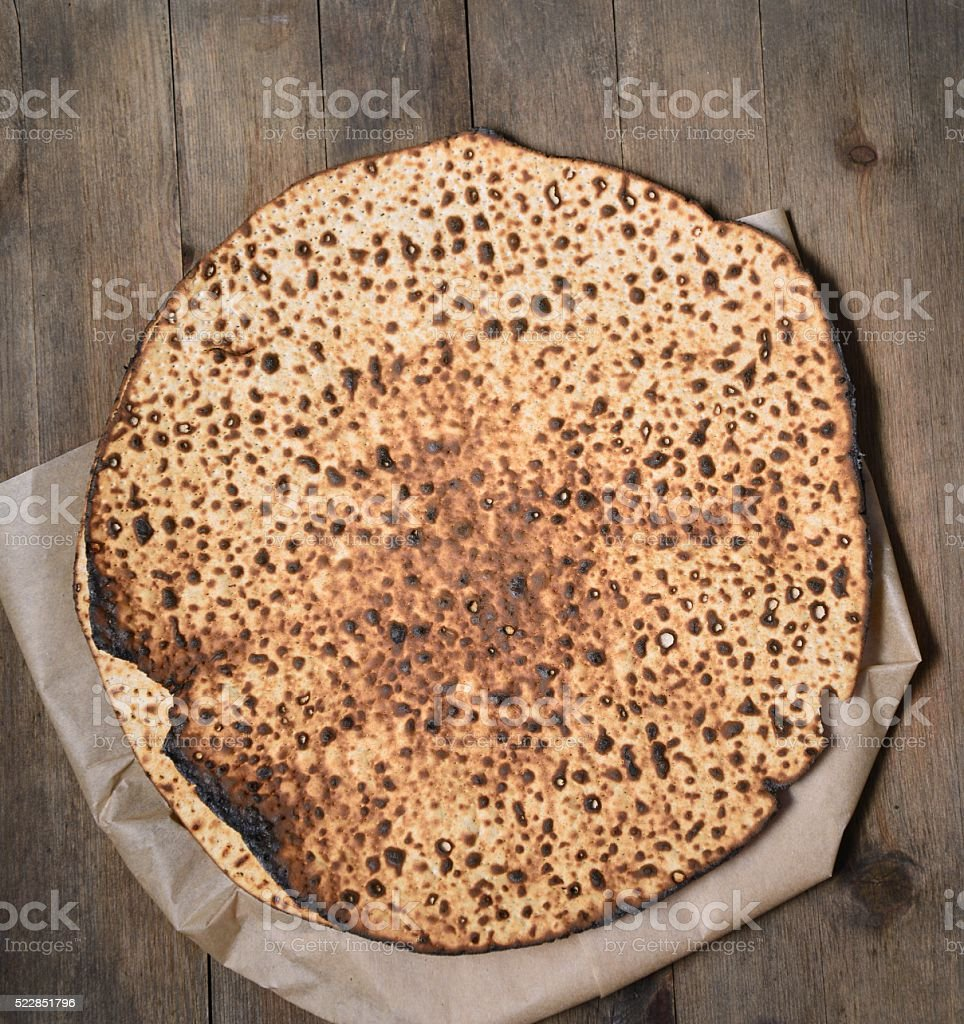 Round Matzah bread for Passover stock photo