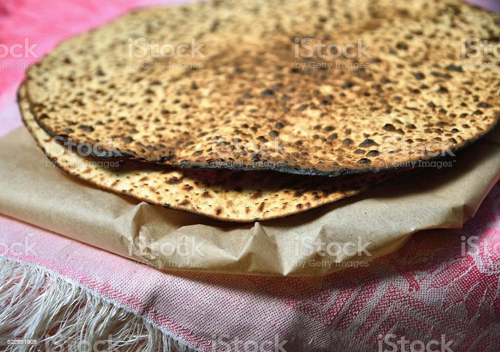 Round Matzah bread for Passover stock photo