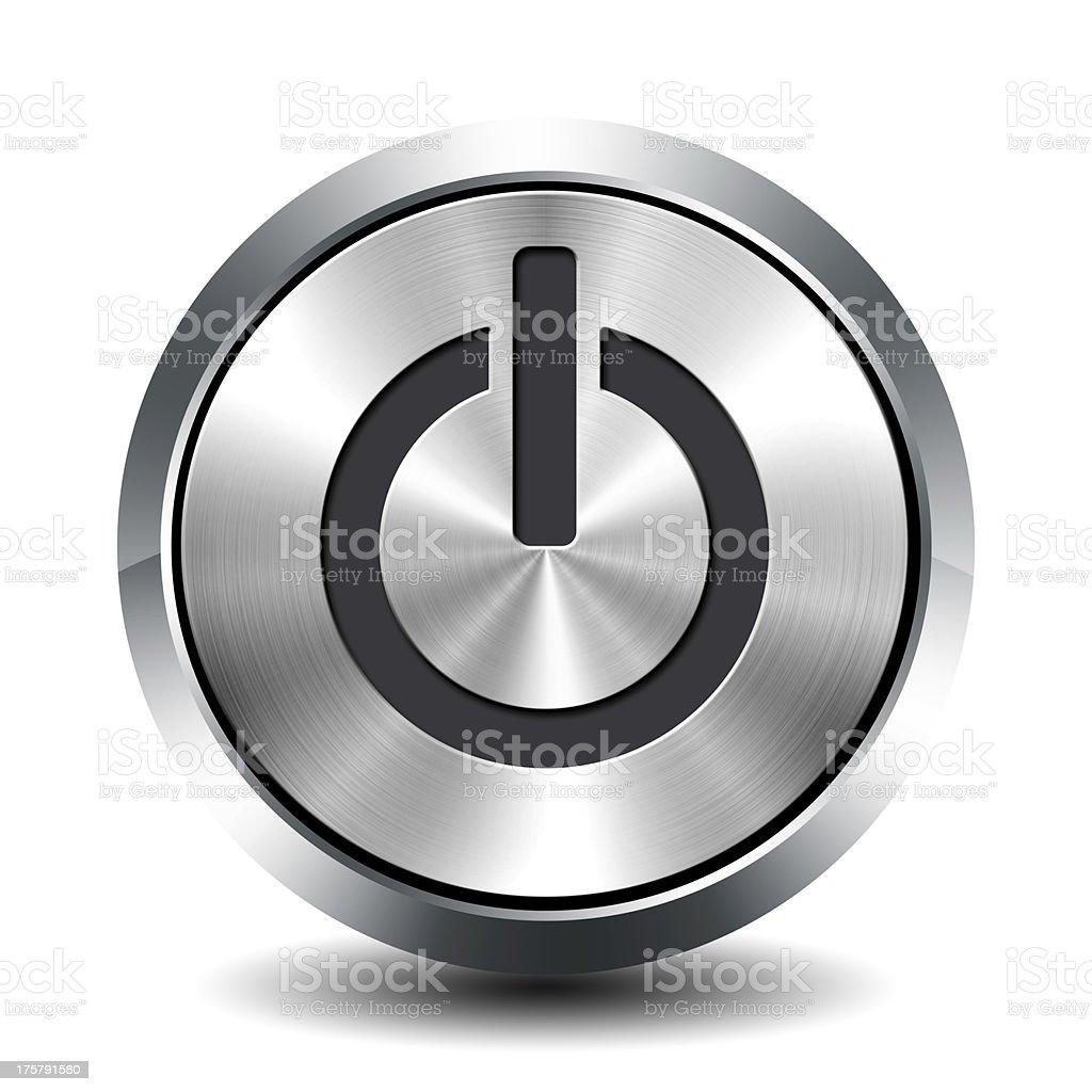 Round metallic button - standby stock photo