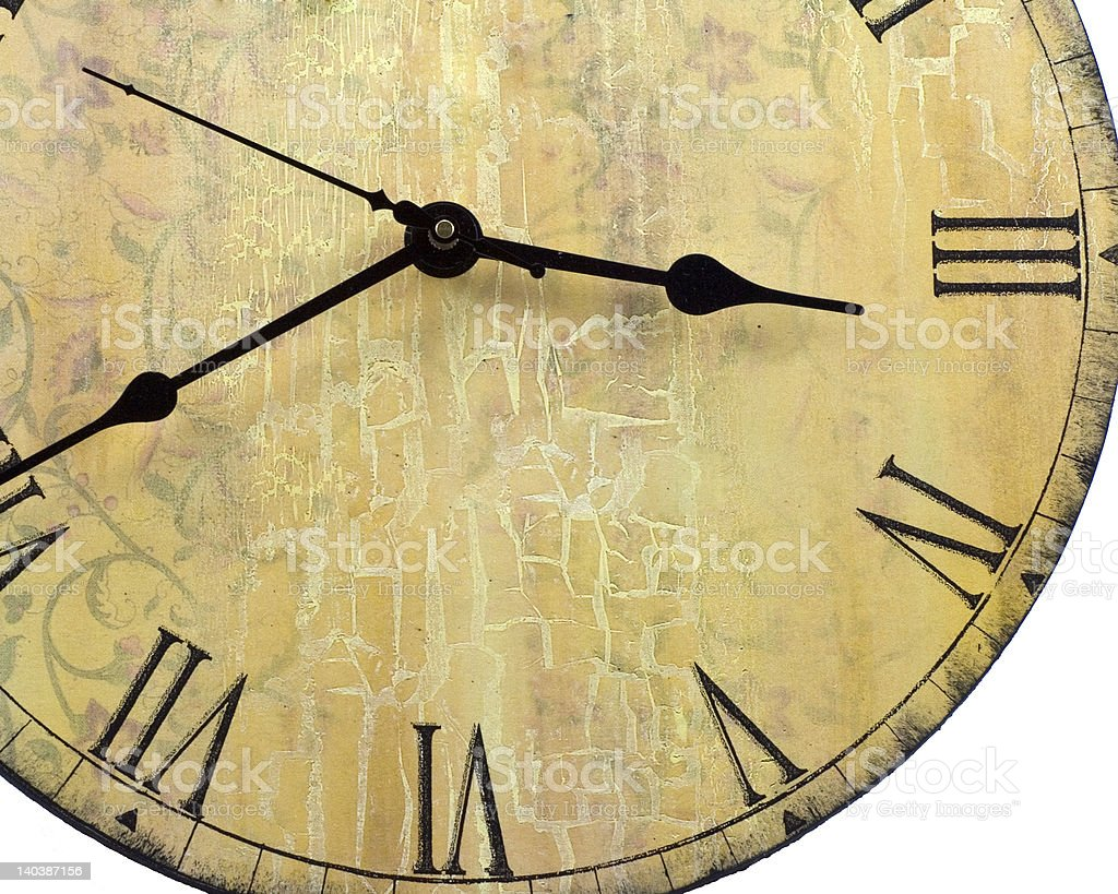 Old style round wall clock with roman numbers