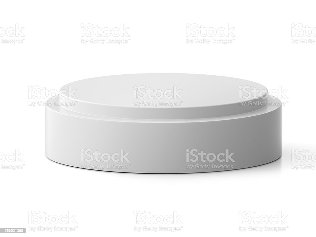 Round pedestal for display. Platform for design. stock photo