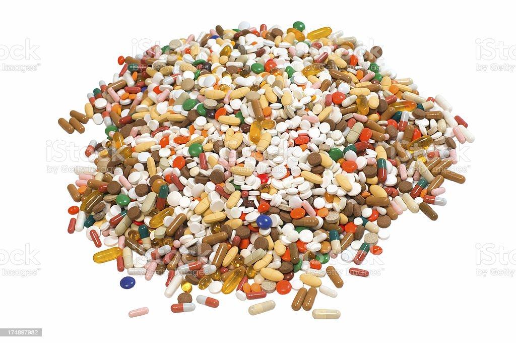 round pile of pills stock photo