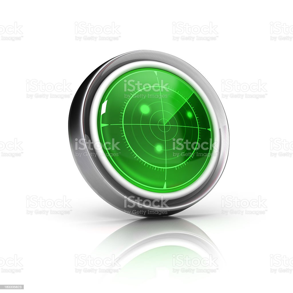Round radar icon with green screen stock photo
