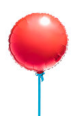 Round red helium balloon on blue cord