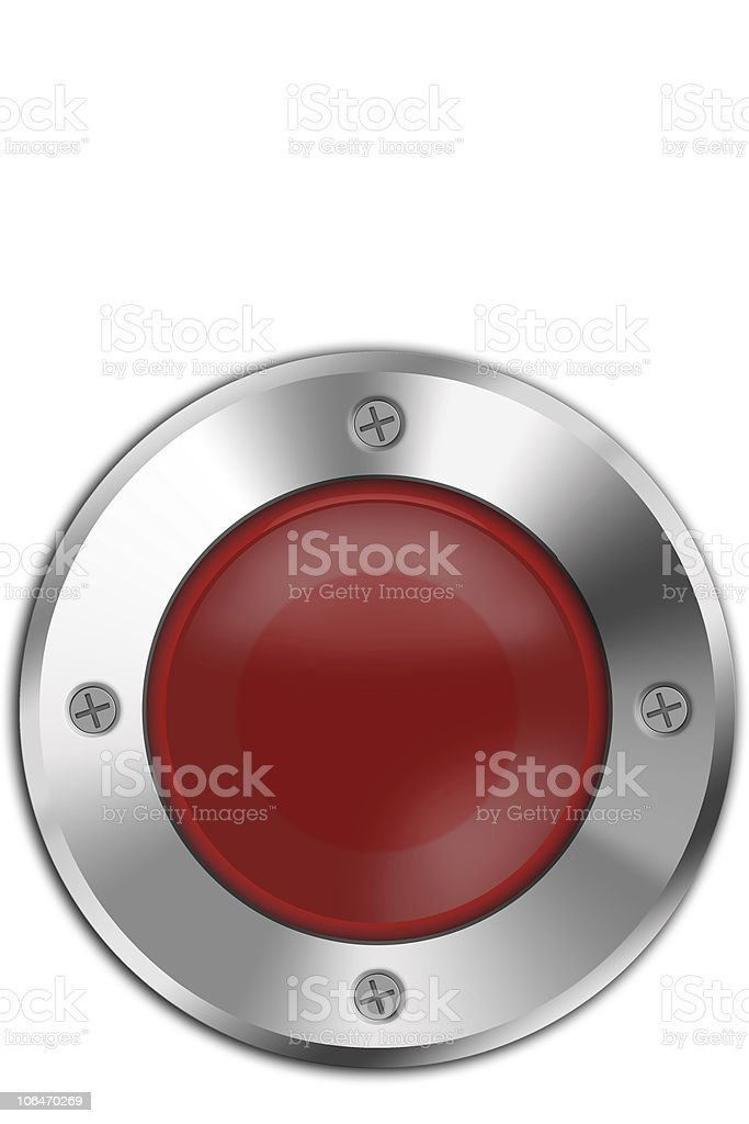Round red panic button on a white background stock photo
