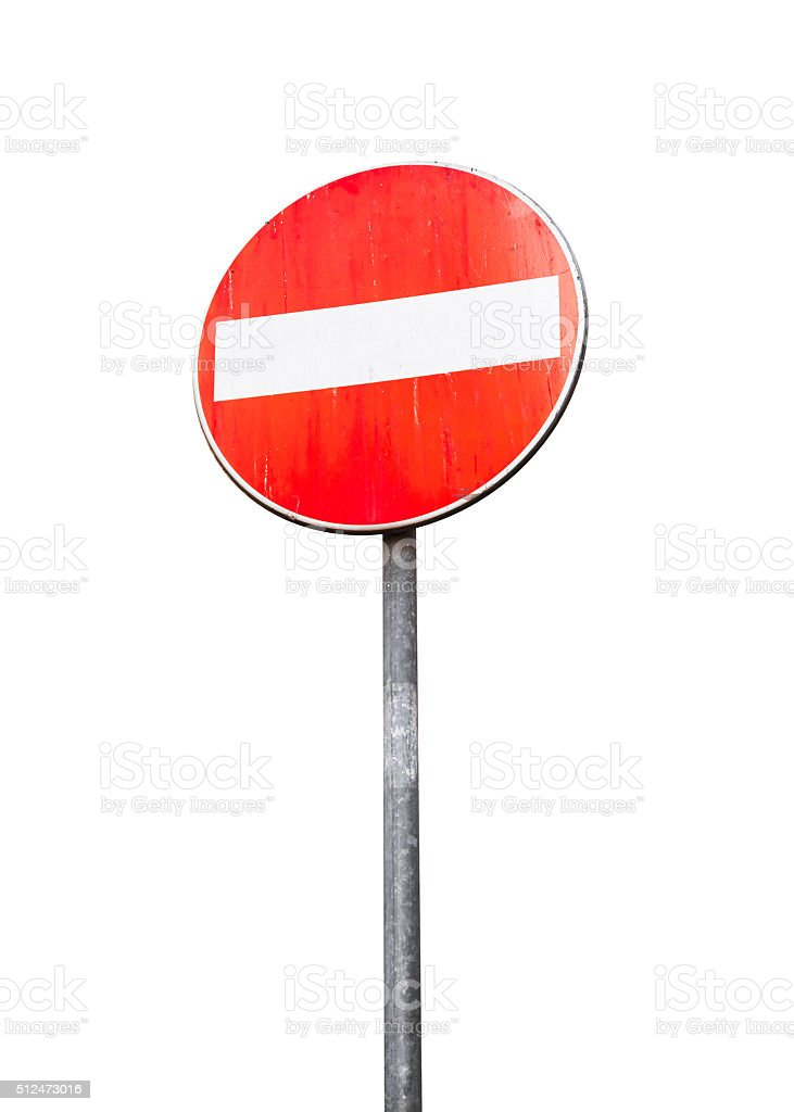 Round red sign No Entry on metal pole isolated stock photo