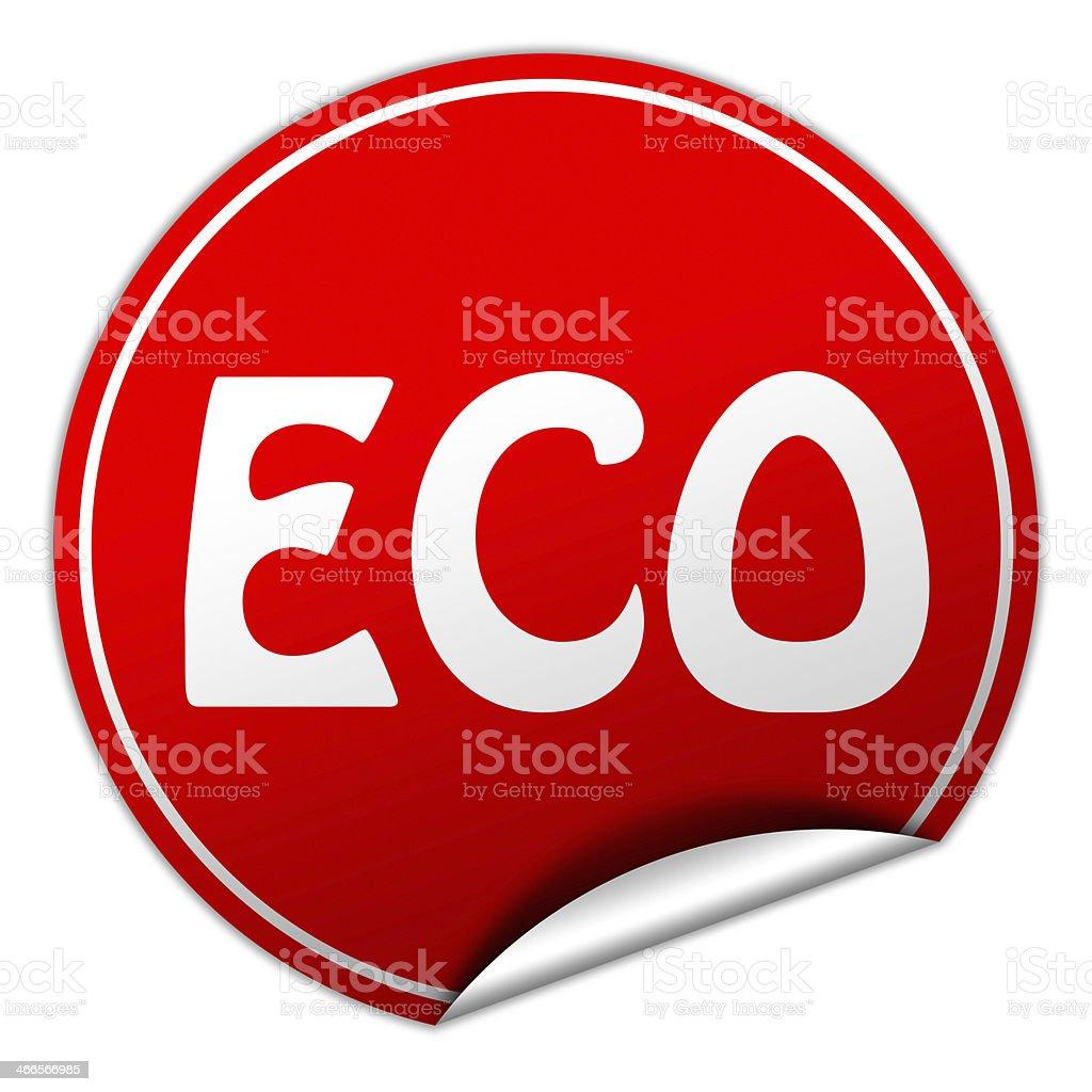 ECO round red sticker on white background stock photo