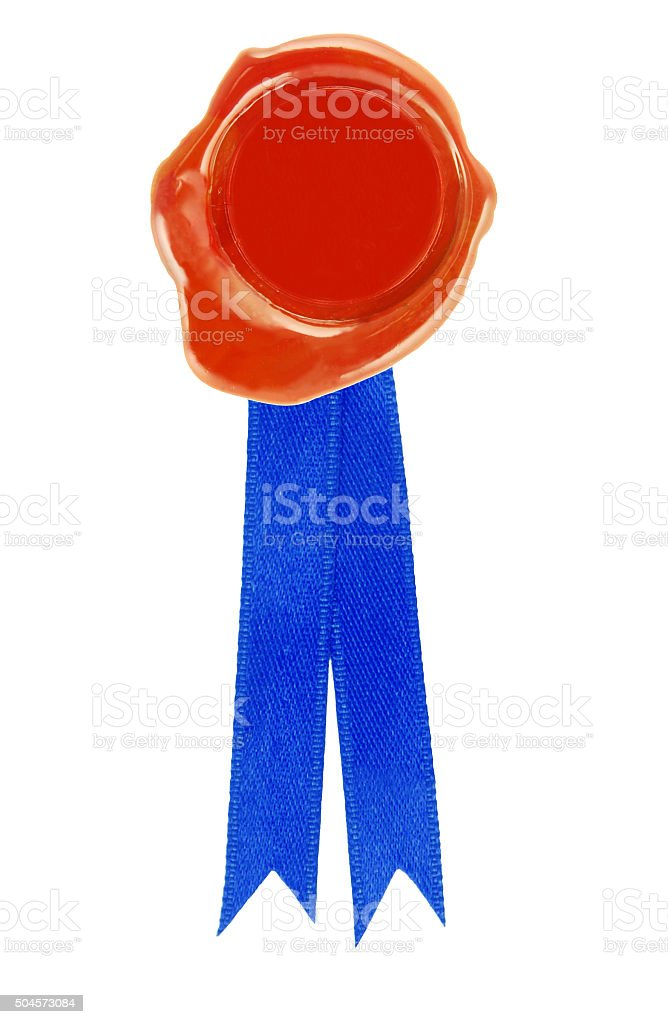 Round red wax seal with a blue ribbon stock photo