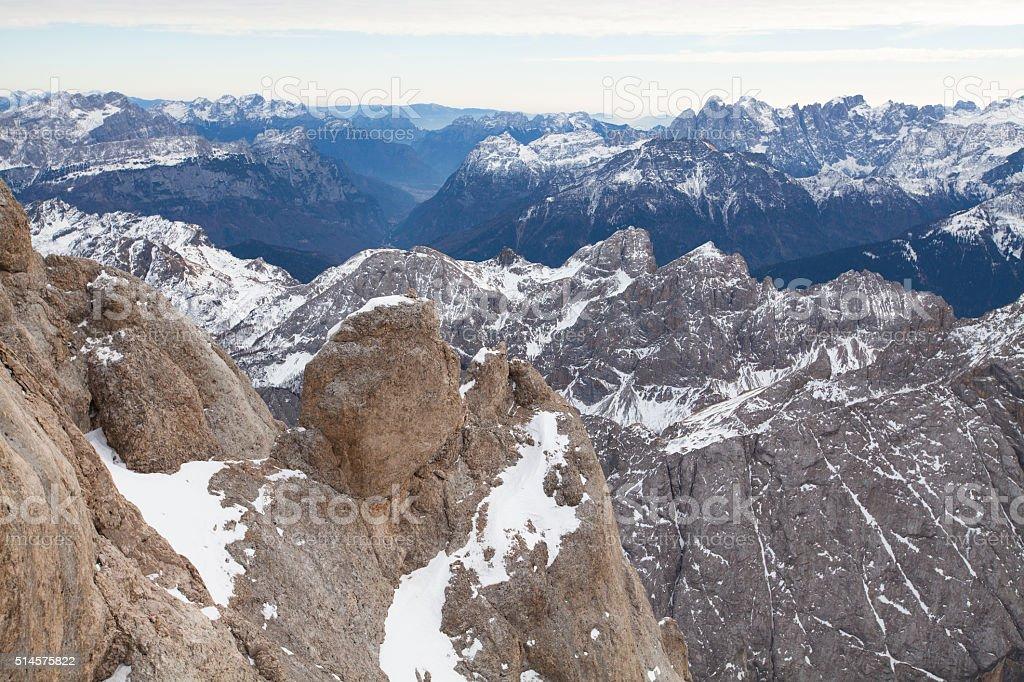 Round rock on the Marmolada mountain peak, Dolomites, Italy stock photo