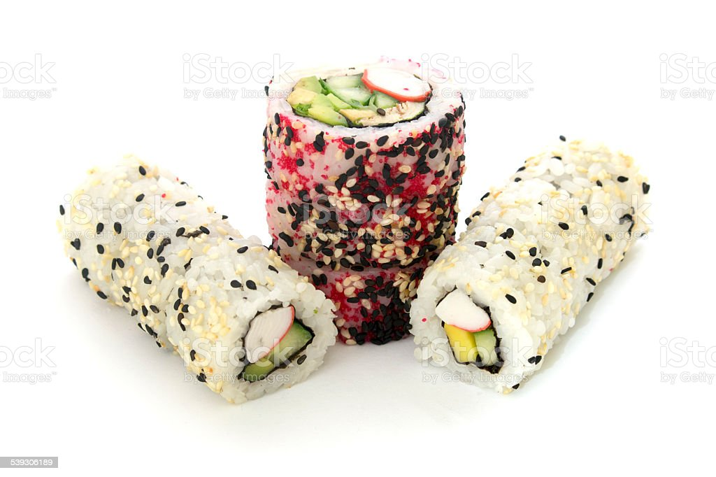 round rolls with cucumber and crab vertically isolated overwhite stock photo